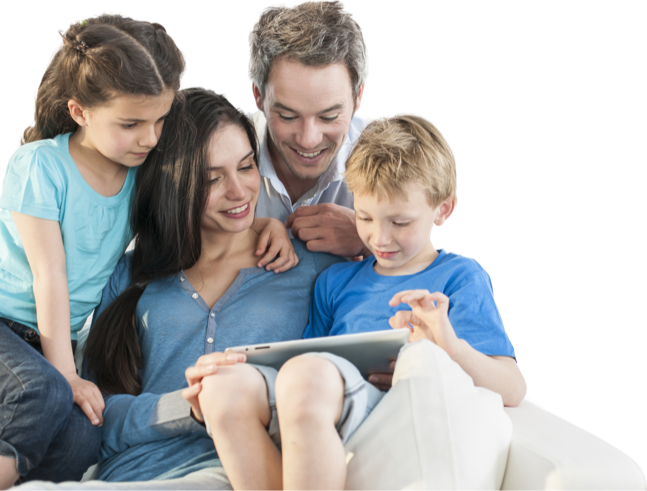 A family looking at a tablet together